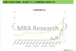 卸電力価格の急騰~気温低下による需給増加と燃料不足